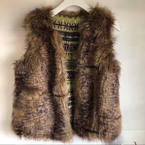 Xhilaration Large Brown Faux Fur Vest